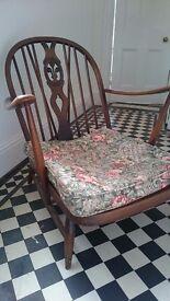 Ercol mid century Fleur de Lys 4 piece suite, , 2 armchairs and 2 footstools