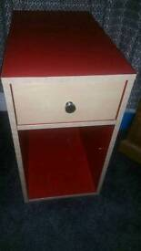SLIM BEDSIDE/OFFICE CABINET 1 DRAW + SPACE TO STORE BOOKS PAPER ETC