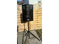 "2 x 12"" Pulse Loud Speakers, 2 x Tripod Stands + 1 x 15 QTX Bass Bin - Perfect for summer parties"