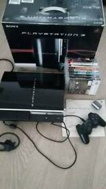 PS3 game console with nine games.
