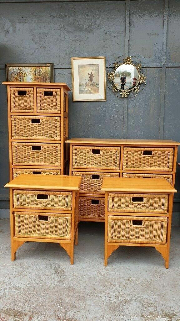 Full Set Pine & Wicker Rattan Bedroom Furniture Can Be ...