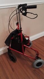 Three wheel rollator trolley red only used a few times