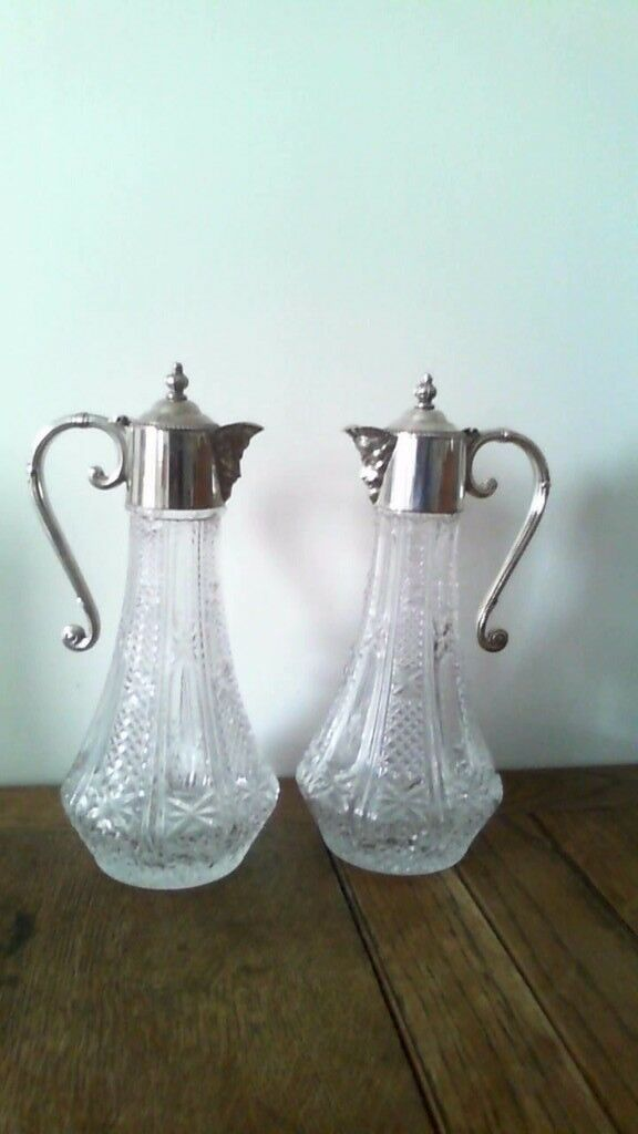 Silver plate and clear glass wine decanters (pair)