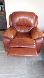 Brown recliner chair.