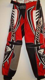 wulfsport race pants motocross motox quad enduro adult size 30 red black