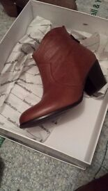 Russell and Bromley tan leather ankle boots
