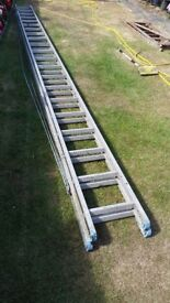 heavy duty. rope assisted ladders, 5.9mtr closed, 9.4mtrs open, on 4 rung over lap.