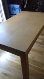 Used Solid Wood Dining Table & 6 leather chairs
