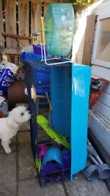 VERY LARGE HAMSTER CAGE + ACCESSORIES EQUIPMENT + SMALLER ONE INCLUDING WHEEL AND OVERHEAD TUNNEL