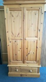 2 Door 1 Drawer Pine Wardrobe