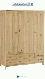 Scandinavian 4door 6draw natural pine wardrobe