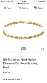 9ct yellow gold rope bracelet - John Lewis - hardly worn - cost £280