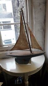 "Vintage 1930s Wood Wooden Pond Boat/Yacht Ship 22"" Hull and metal Keel"
