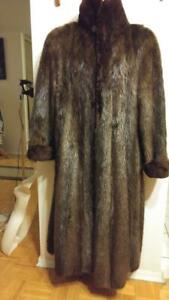 Oakville MENS XL $5000 BEAVER FUR COAT 46 Sheared Collar, Cuffs Heavy Long Oversized Vintage Big Unisex XXL Womens