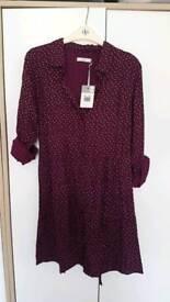 Burgundy shirt dress