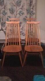 Set of 4 Ercol Goldsmith Blonde High Back Chairs
