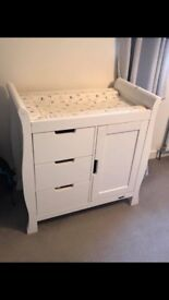 Obaby white sleigh Baby changing station