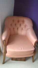 Buttoned back bedroom/lounge chair - pretty, comfy, peach colour