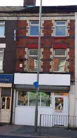 Commercial property, 2 bedroom flat above