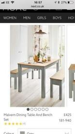 Next Malvern dining table with 2 benches - 8 months old