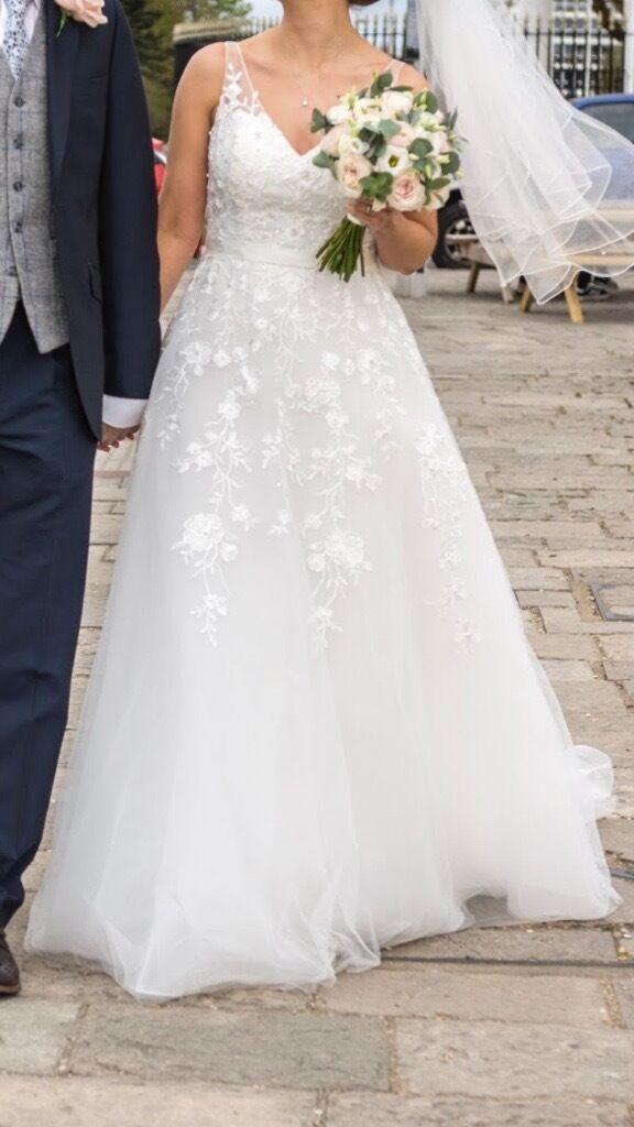 Size 10 Ellis Bridal Soft Tulle Lace Wedding Dress Style 18041
