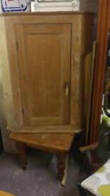 Antique victorian pine corner cabinet