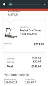REEBOK ONEGT40 TREADMILL BOUGHT SEPT 2017 £329 , EMAIL RECEIPT DATE PROOF IN PHOTOS , SAD SALE :(