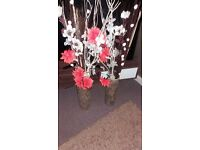 2 x gold vases - with flowers £10