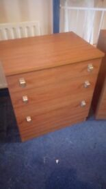 teek veneered chest of drawers