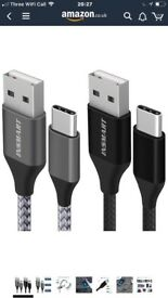 Type C Cable, INSMART USB Type C Cable [2Pack 3.3FT] Nylon Braided Cable for Samsung Galaxy