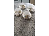 Vintage Fine Bone China Tea Set of four - gold colour pattern and yellow rose glaze USED