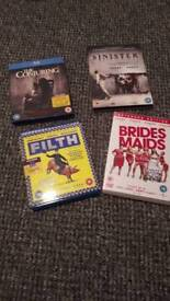 The conjuring blu-ray, sinister blu-ray, filth DVD and bridesmaids DVD . (watched once)