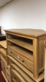 Knightsbridge Corner TV unit solid wood/ Oak/Oak Veneer