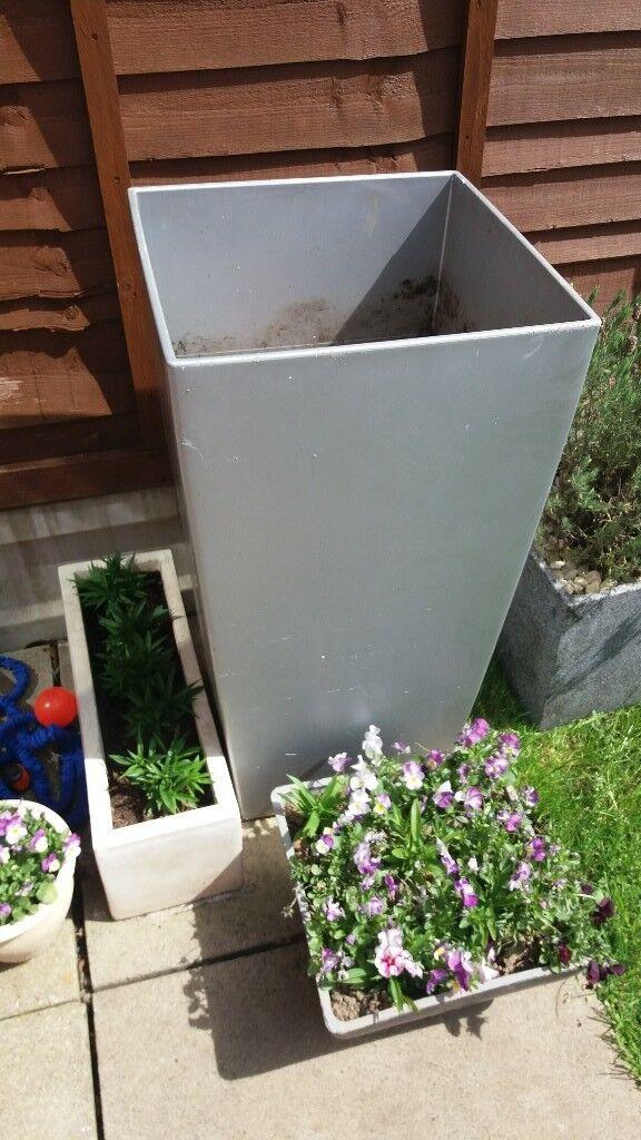 Extra Large Silver Garden Pots