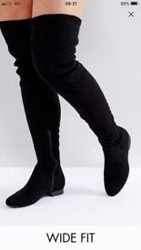 Wide Fit Kasba Thigh High Boots Size 4 Boxed