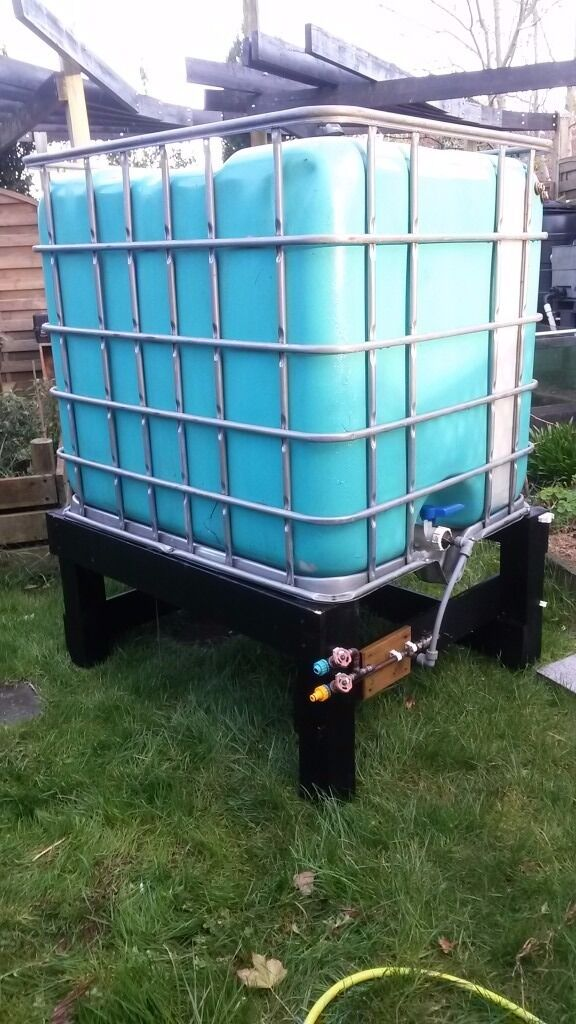 Water But 1000 Litre Ideal for rain water harvestingin Downham Market, NorfolkGumtree - 100 Litre water butt, used for rain water harvesting. Includes wooded plinth support, some piping bulk head fitting and valves. Has been painted to stop algae growth. Free delivery within Downham Market