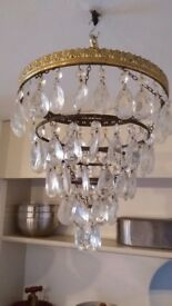 Antique Crystal Chandelier Waterfall design with 5 brass tiers