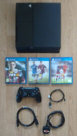 PS4 in Jet Black - 500gb hd - Fifa 14,15 & 16 included.