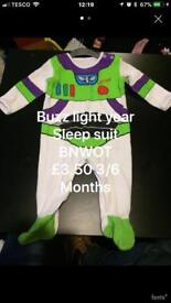 Boys 3/6 Months sleep suits toy story and batman