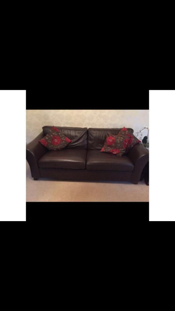 MARKS& SPENCER Brown Leather Sofa & chair