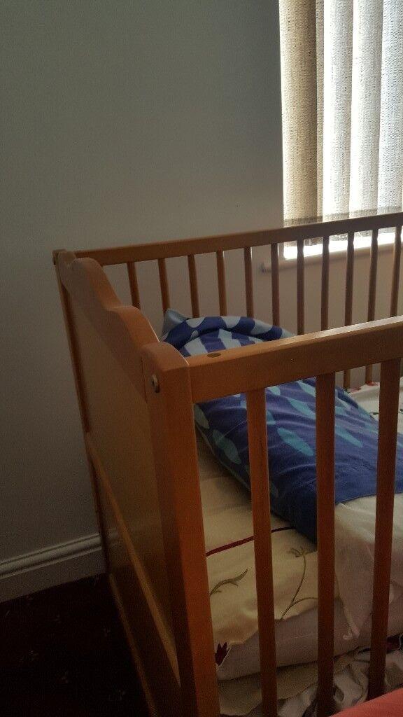 oak cot/ bed