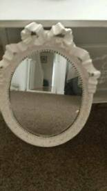 Mirror oval shabby Chic White