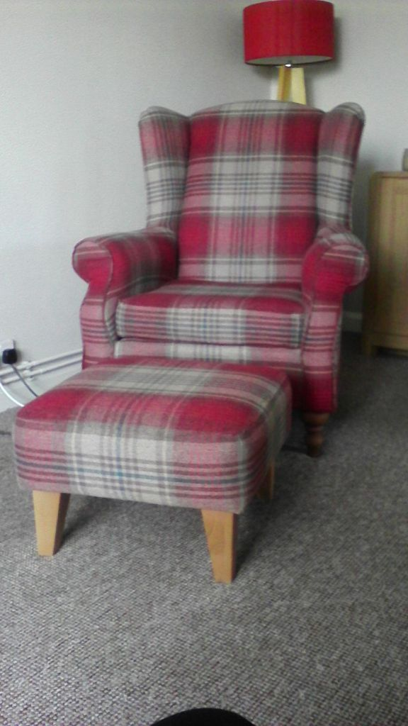 Next Sherlock Red Check Chair And Matching Footstool In