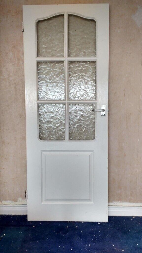 3 Half Glazed White Interior Solid Wood Glass Panel Doors With Handles In Llanrumney Cardiff Gumtree