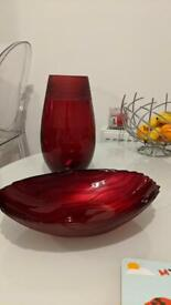 Glass Red Vase Fruit Bowl Home Display Console Table Contemporary