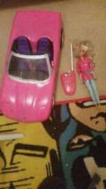 Barbie rc car and doll