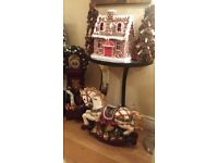 Large Vintage Victorian Christmas Carousel Rocking Horse 21 inches tall.Stunning Like New