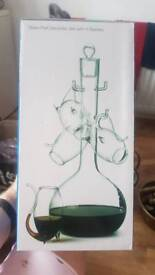 Glass decanter with port sipping glasses x 4