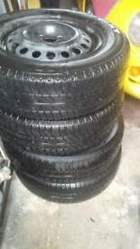"14"" Wheels And Tyres 4stud 100ET GM Vauxhall Opel Skoda VW"
