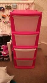 plastic pink four drawer set